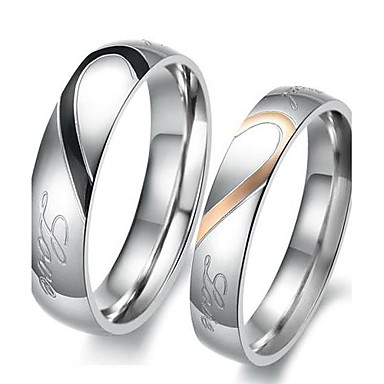 cheap Rings-Couple's Two tone Couple Rings Engagement Ring Stainless Steel Titanium Steel Heart Love Friendship Ladies Bridal Ring Jewelry Silver For Wedding Party Birthday Engagement Gift Daily 5 / 6 / 7 / 8 / 9