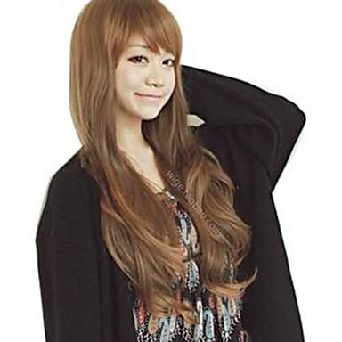 Women Synthetic Wig Wavy Black Light Brown Dark Brown With Bangs Costume Wig