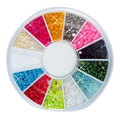 144PCS 12-Color Nail 2mm Small Ball Margele Nail Art Decotations
