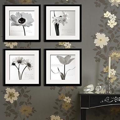 Floral/Botanic Pânză Înrămată / Set Înrămat Wall Art,PVC Negru Rogojină Inclusă cu Frame Wall Art