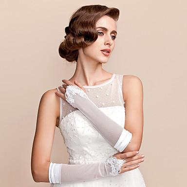 Elbow Length Fingerless Glove - Satin/Tulle Bridal Gloves
