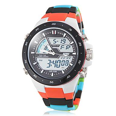 SKMEI Herre Sportsur Quartz Japansk Quartz LCD Kalender Kronograf Vandafvisende Dobbelte Tidszoner alarm Plastik Bånd Mangefarvet