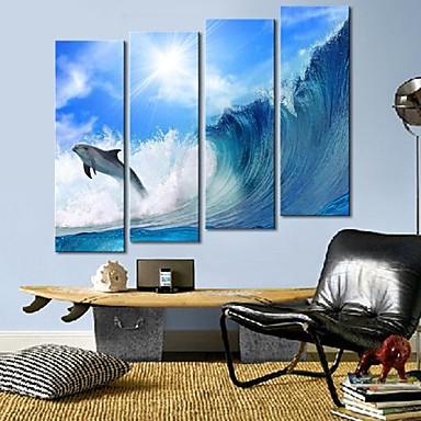 Întins Canvas Art valuri și delfinii Set de 4