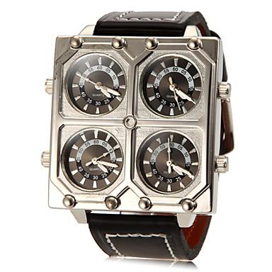 Herrn Quartz Militäruhr Armbanduhren für den Alltag PU Band Charme Schwarz