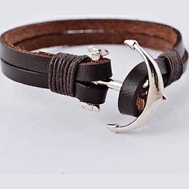 Men's Leather Bracelet Stainless Steel Leather Cross Anchor Jewelry Christmas Gifts Daily Casual Sports Costume Jewelry Brown