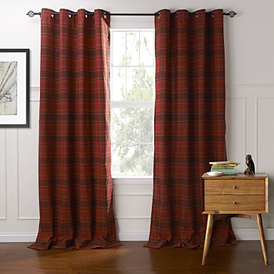 Rod Pocket Grommet Top Tab Top Double Pleated Two Panels Curtain Country , Plaid/Check Bedroom Cotton Material Curtains Drapes Home