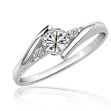 Pentru femei Diamant sintetic Inel - Zirconiu, Zirconiu Cubic, Placat cu platină Iubire Declarație, Elegant 6 / 7 / 8 Argintiu Pentru Nuntă / Petrecere / Zi de Naștere