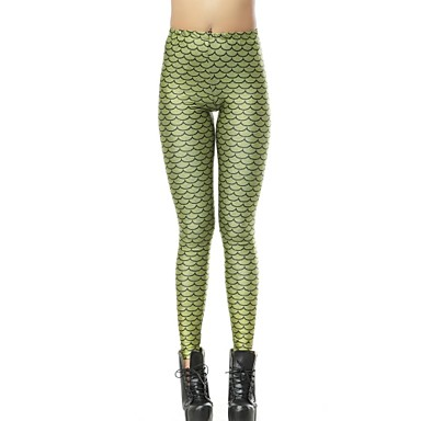 ed654eb46dc629 Elonbo Green Mermaid Style Digital Painting Tight Women Leggings ...
