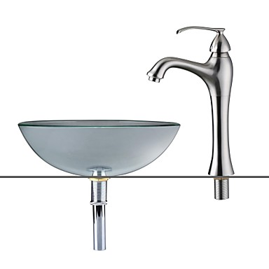 Contemporary Round Sink Material is Tempered Glass Bathroom Sink Bathroom Faucet Bathroom Mounting Ring Bathroom Water Drain