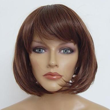 Synthetische Perücken Bubikopf / Mit Pony Synthetische Haare Natürlicher Haaransatz Braun Perücke Damen Kurz Cosplay Perücke / Natürliche