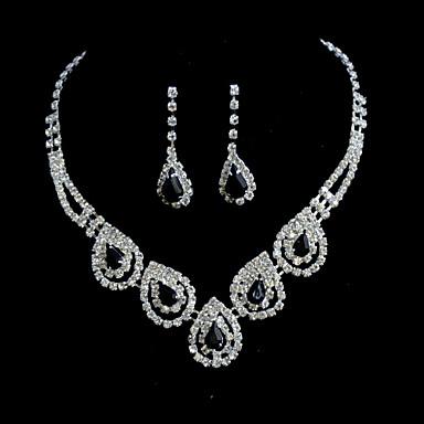 Takı Seti Kadın's Yıldönümü / Düğün / Nişan / Doğumgünü / Hediye / Özel Anlar Mücevher Setleri alaşım Elmas / Yapay ElmasKolyeler /