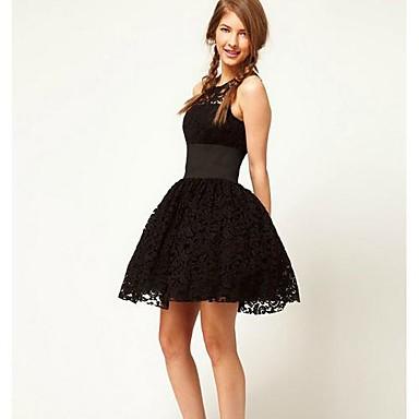 a387257e9ff5 Γύρω από το περιλαίμιο γυναικών μαύρο Lace Tutu λεπτό φόρεμα 1346599 ...