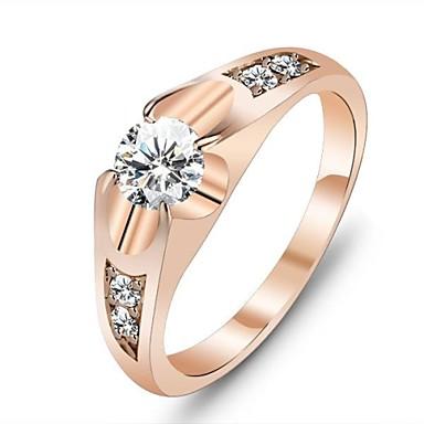 Pentru femei Solitaire Inel de declarație - Aur roz, Zirconiu Cubic, Placat Auriu Iubire Design Unic 6 / 7 Auriu Pentru Nuntă / Petrecere / Cadou