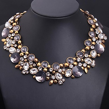 Damen Kristall Statement Ketten - Blume Erklärung, Luxus, Europäisch Purpur Modische Halsketten Schmuck Für
