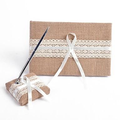 abordables Livre d'Or et Stylos pour Mariage-Livre d'or / Stylo Lin Thème jardin Avec Noeud / Ruban Livre d'or / Ensemble de stylos