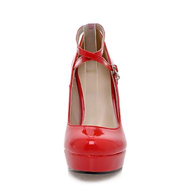Rojo Negro Cuero Stiletto Zapatos Patentado Tacón Primavera Blanco Vestido Mujer 00342670 Verano Plataforma xSvYzaw5nq