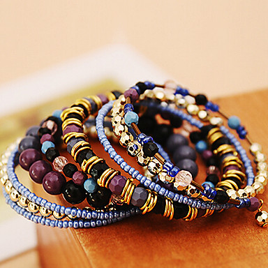 Fashion Bohemia Multi Layers Elastic Beads Women's  Acrylic Chain & Link Bracelet(9 Pcs)
