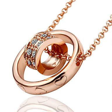 Women's Fashion Pendant Necklace Rhinestone Gold Plated Rose Gold Plated Alloy Pendant Necklace , Wedding Party Daily