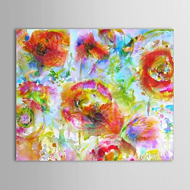Hand-Painted Floral/Botanical Horizontal Canvas Oil Painting Home Decoration One Panel