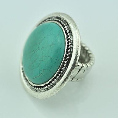 Vintage Female Turquoise Elastic Adjustable Ring (Green)(1pcs)