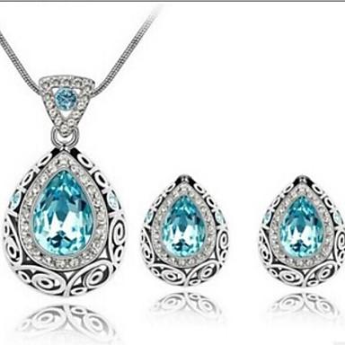 Kristal Sieraden set - Oostenrijks kristal omvatten Rood / Groen / Navy Voor Bruiloft / Feest / Dagelijks / Oorbellen / Kettingen