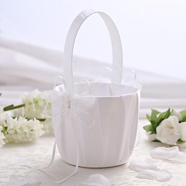 alb de nunta satin coș de flori cu un design fluture coș de flori girl