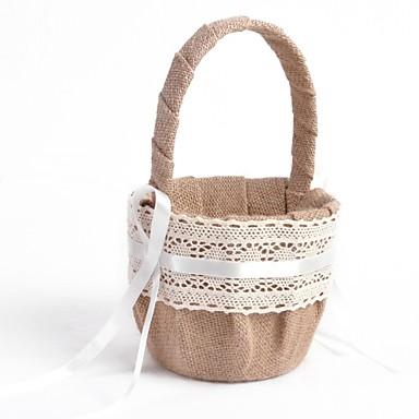 Flower Basket Linen Ribbons Bow