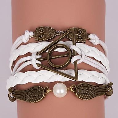 abordables Bracelet-Bracelets Plusieurs Tours Bracelets en cuir Femme Cuir Chouette Pas cher Inspiration Bracelet Bijoux Blanc Marron pour Regalos de Navidad Soirée Quotidien Décontracté