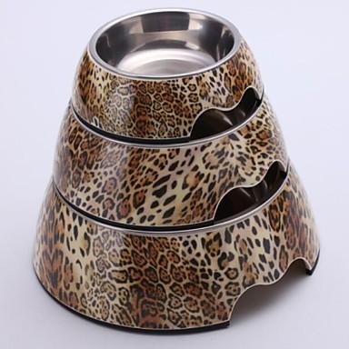 Leopard aplicatiile Melamina rotund Vas cu vase din otel inoxidabil pentru Pet Câini