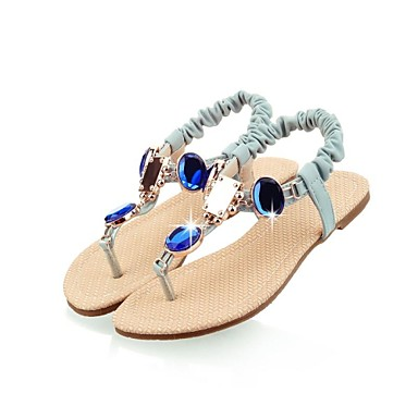 Women's Shoes Leatherette Summer Fall Toe Ring Ankle Strap T-Strap Flat Heel With Rhinestone Crystal For Casual Dress Party & Evening