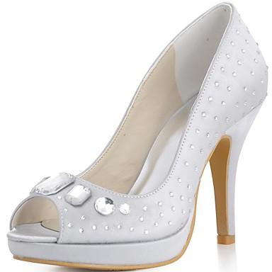 Damen Schuhe Satin Frühling / Sommer Stöckelabsatz Strass Blau / Gold / Lila / Hochzeit