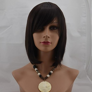 Synthetic Wig Straight With Bangs Synthetic Hair With Bangs Brown Wig Women's Short Natural Wigs Capless Daily