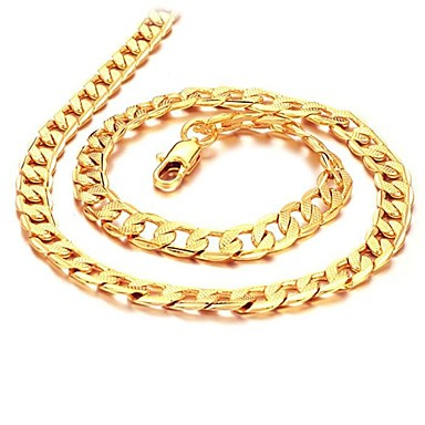 Men's Chain Necklace - Gold Plated, 18K Gold Plated Gold