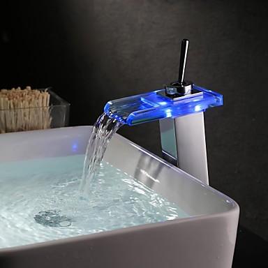 Hedendaagse Middenset Waterherfst LED Keramische ventiel Een Hole Single Handle Een Hole Olie-Gewreven Brons, Wastafel kraan