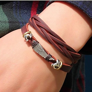 Wrap Bracelet Unique Design Costume Jewelry Fashion Leather Jewelry Wings / Feather Jewelry For Daily Casual Sports Christmas Gifts