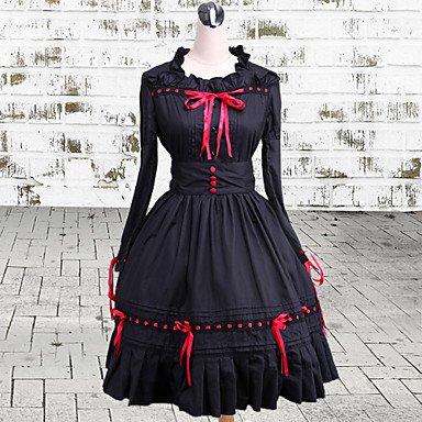Gothic Lolita Dress Vintage Inspired Women's One Piece Dress Cosplay Long Sleeves