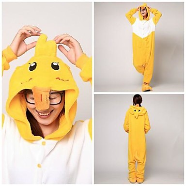 Kigurumi Pyjamas And Trikot/Heldragtskostumer Festival/Højtider Nattøj Med Dyr Halloween Gul Patchwork Koralfleece Kigurumi Til Unisex