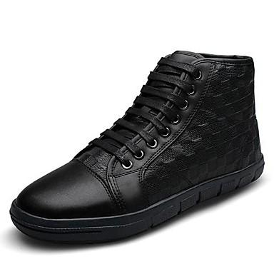 Men's Sneakers Spring Summer Fall Comfort Leather Casual Flat Heel Black Brown