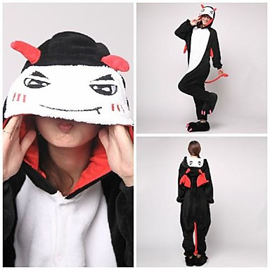 Pyžama Kigurumi ďábel Monster Pyžamo Onesie Kostým Coral Fleece Černá Cosplay Pro Dospělé Animal Sleepwear Karikatura Halloween Festival