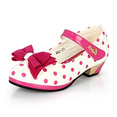 Girls' Heels Leatherette Spring Summer Fall Casual Party & Evening Bowknot Polka Dot Magic Tape Low Heel Black Red Under 1in