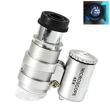 Super-mini 45X Plastic Microscop optic de sticlă Lens cu 2-LED Illuminating Becuri (3 * LR927)