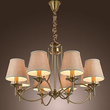 Chandelier ,  Modern/Contemporary Traditional/Classic Rustic/Lodge Country Island Vintage Brass Feature for Candle Style MetalLiving Room