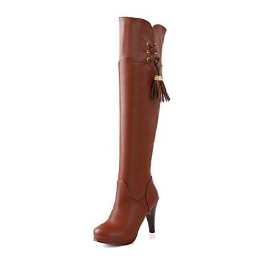 Черный / Коричневый - Женская обувь - Для праздника - Искусственная кожа - На шпильке - Модная обувь - Ботинки