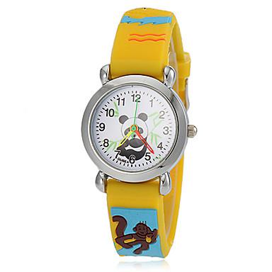 Damen Quartz Armbanduhr Armbanduhren für den Alltag Silikon Band Freizeit Zeichentrick Modisch Gelb