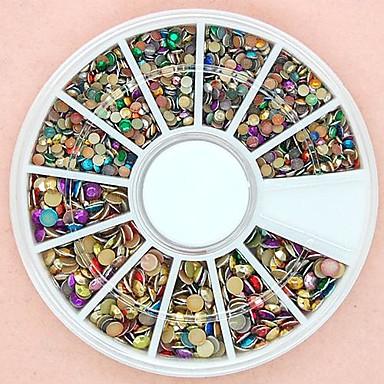 1200pcs dimensiune mixt rotund 3d unghii colorat joc periculos din aliaj roată decorare artă