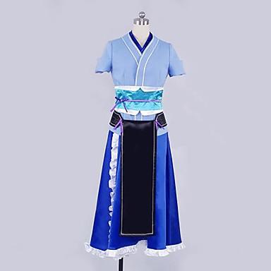 Inspireret af Cosplay Cosplay Anime Cosplay Kostumer Cosplay Kostumer Patchwork Kortærmet Kjole Hovedstykke Handsker Korset Talje
