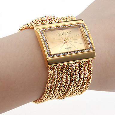cheap Women's Watches-Women's Luxury Watches Bracelet Watch Gold Watch Japanese Quartz Copper Gold Imitation Diamond Analog Ladies Luxury Sparkle Fashion Elegant - Silver Golden One Year Battery Life / Stainless Steel