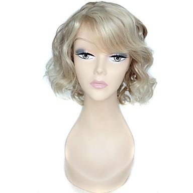 Synthetische Perücken Locken Synthetische Haare 10 Zoll Weiß Perücke Damen Kappenlos Blondine