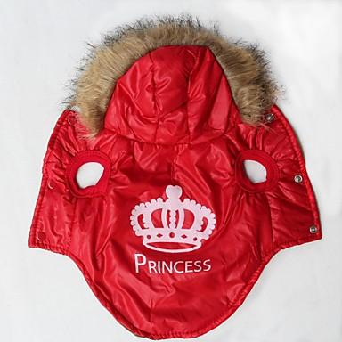 Кошка Собака Плащи Толстовки Одежда для собак Тиары и короны Оранжевый Красный Хлопок Костюм Для домашних животных Муж. Жен. Сохраняет