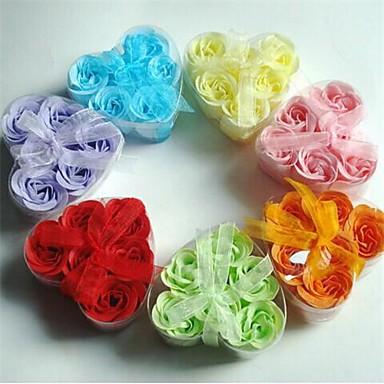 6 креативных романтических сердечных розовых мыльных цветов (случайный цвет)
